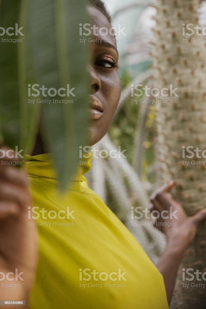 seçici odak bir tropikal yaprak poz zarif Afro-Amerikan Kız - Royalty-free Afrika Kökenli Amerikalılar Stok görsel