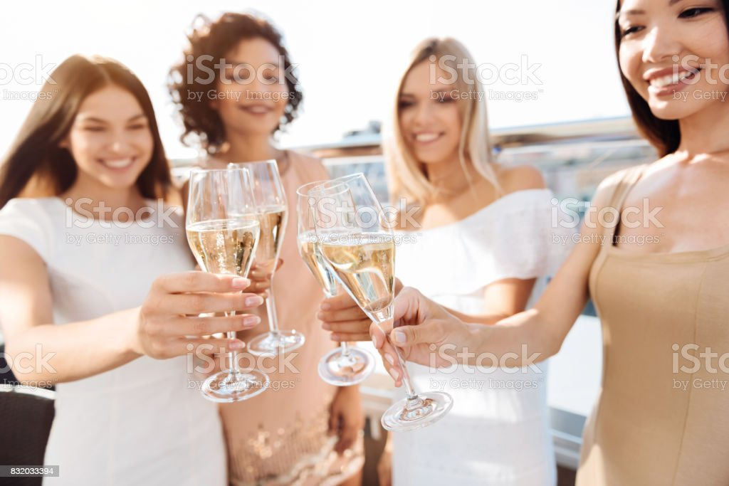 Selective focus of glasses with champagne stock photo