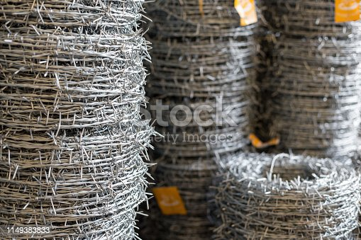 Selective focus of New Barbed wire texture background