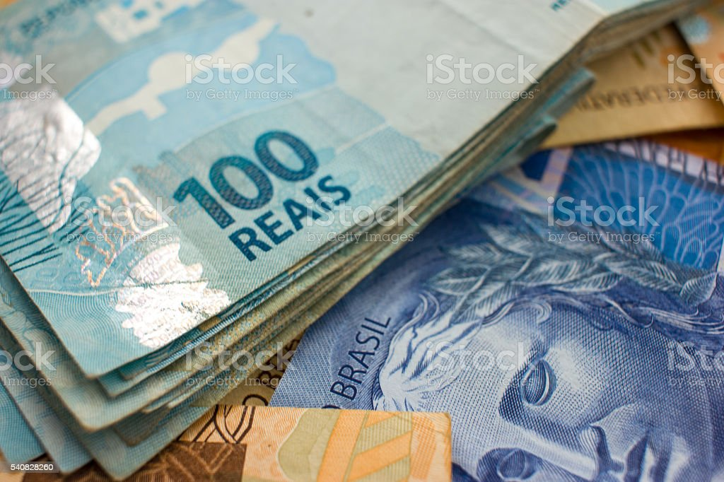 Selective focus on Brazilian Money stock photo
