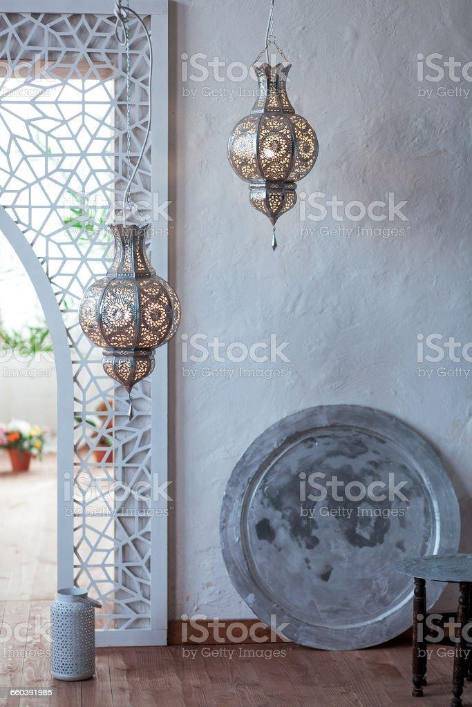 Selektive Fokuspunkt Auf Marokko Licht Laterne Dekoration Im ...