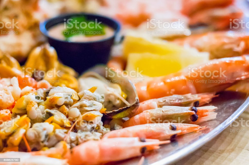 Selective focus, seafood platter from a local restaurant in a popular seaside town Southwold of the UK stock photo