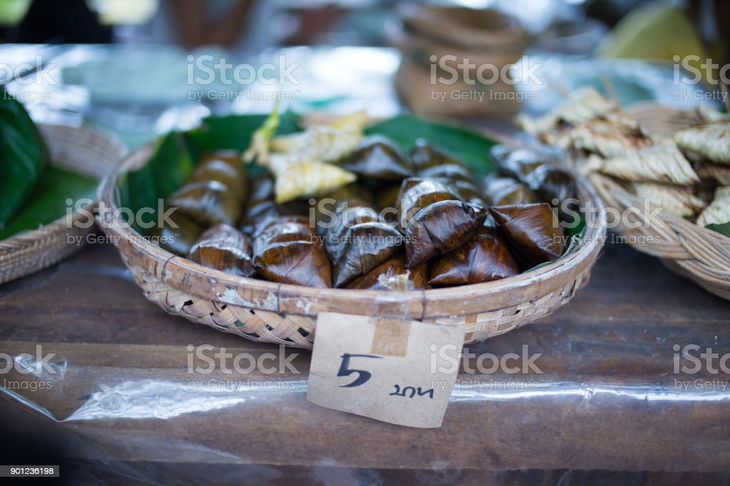 Selective focus sticky rice desert yummy Thai traditional stock photo