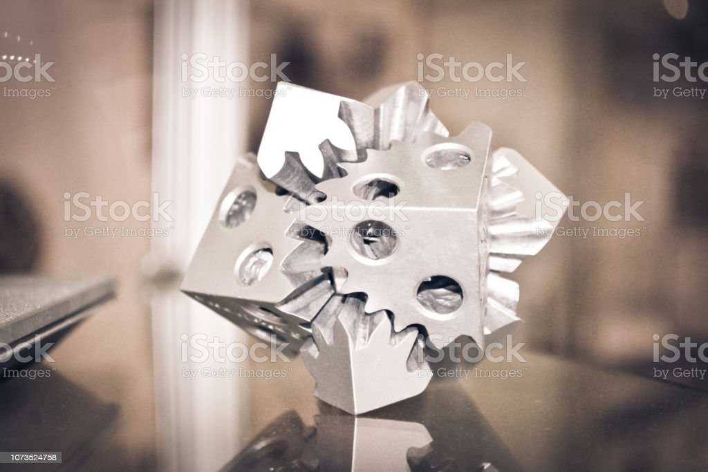 Selective Laser Melting. Object printed on metal 3d printer clos stock photo