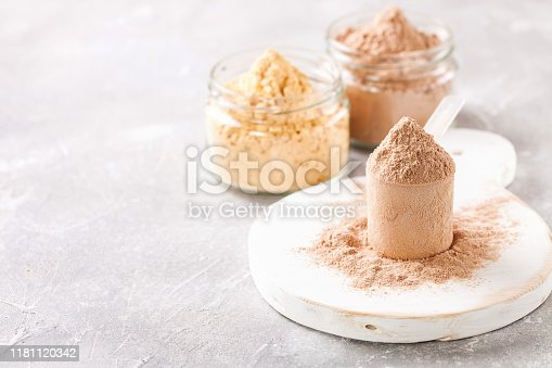 Selective protein in powder for sports food. Fitness food. Selective focus. Copy space