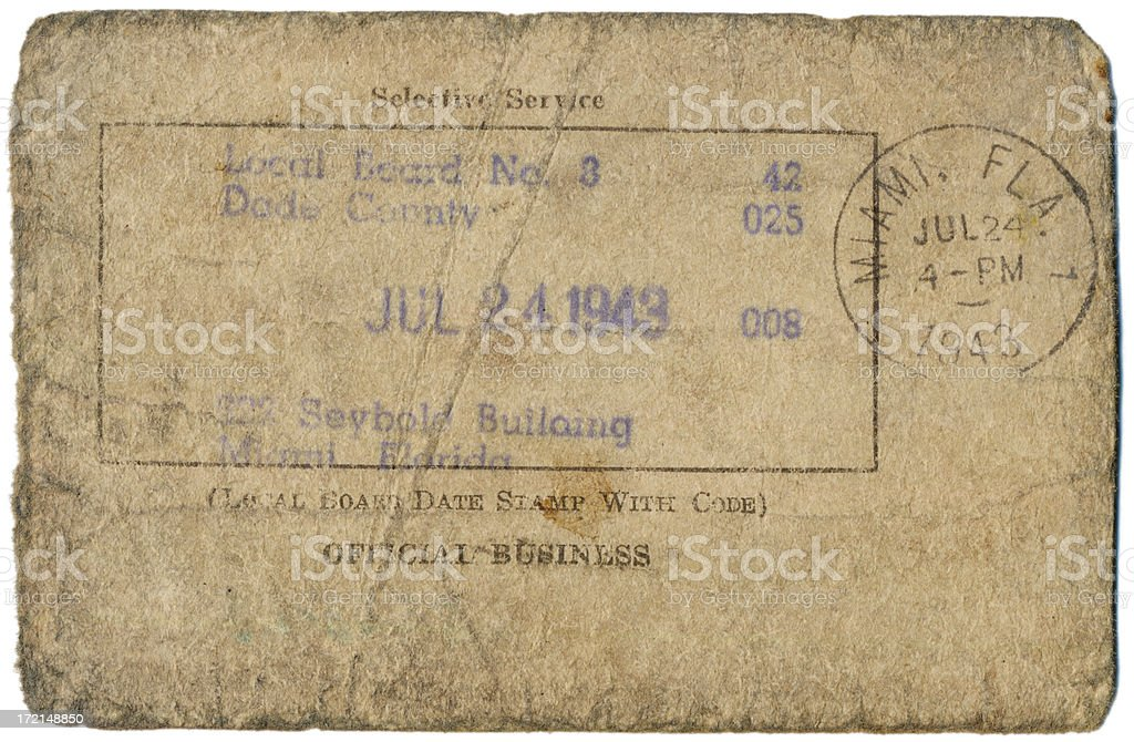 Selective Service Card royalty-free stock photo