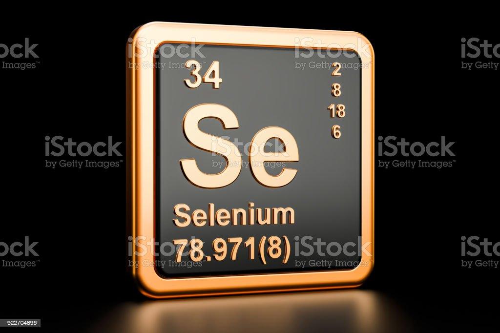 Selenium Se Chemical Element 3d Rendering Isolated On Black