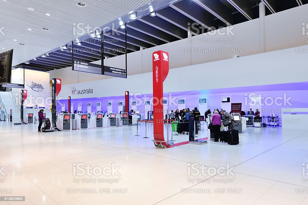Self airport check-in counter area. Perth Airport Terminal 1. Perth...