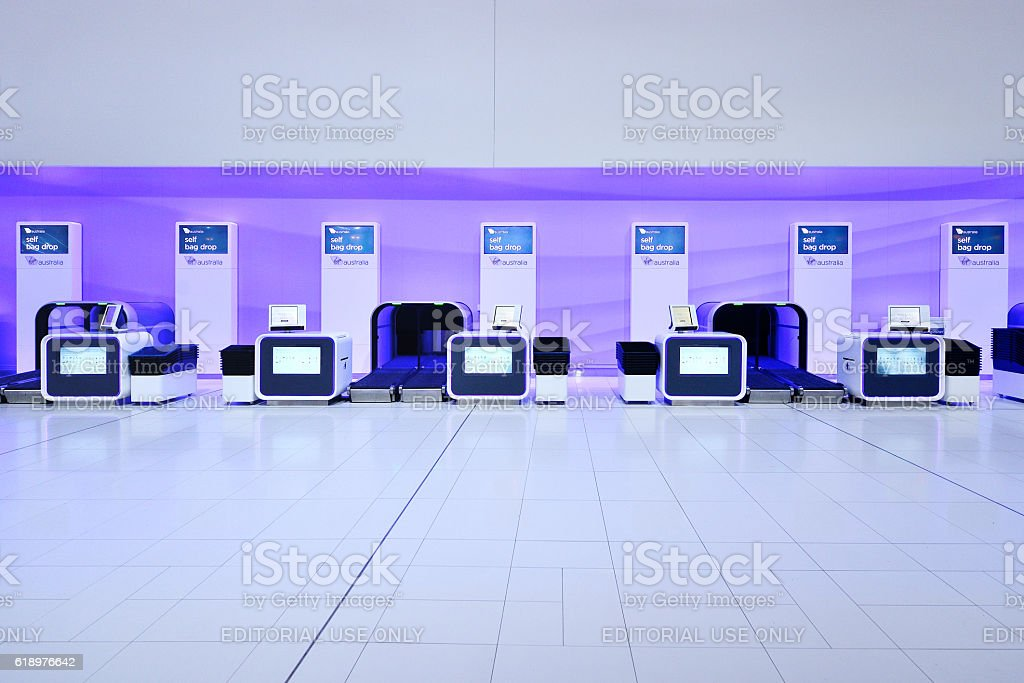 Self Airport Check-In Facility stock photo