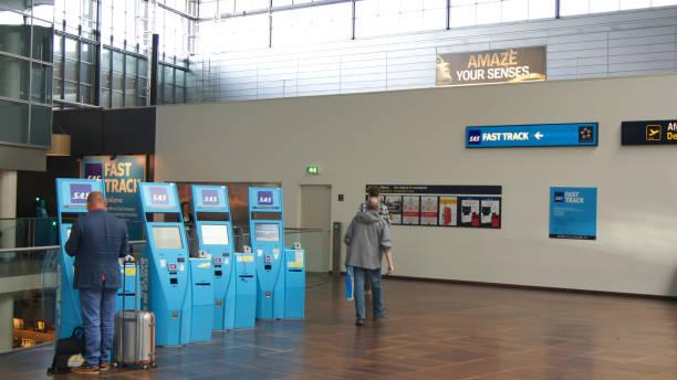 Self Check in counters at Copenhagen airport stock photo