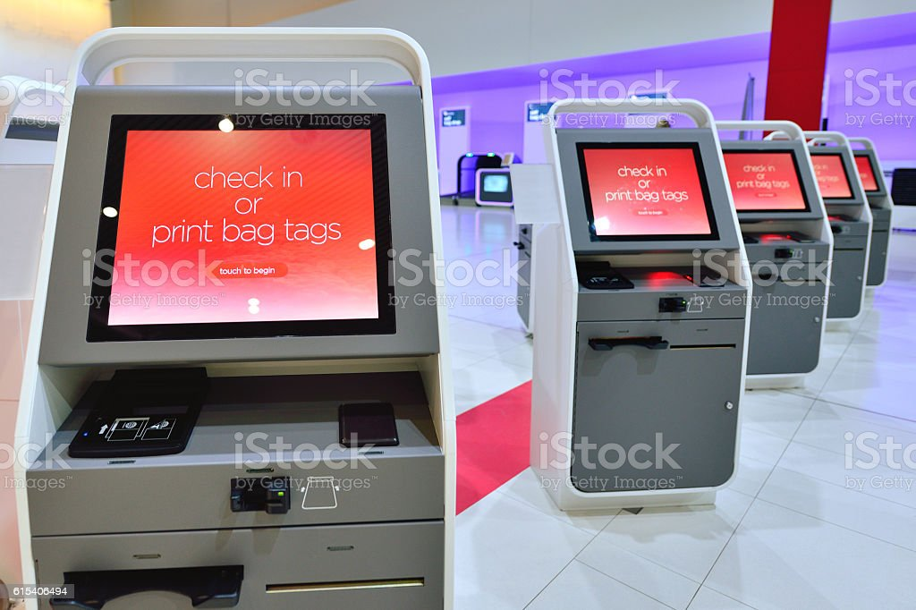 Self Check In Machine in Airport stock photo