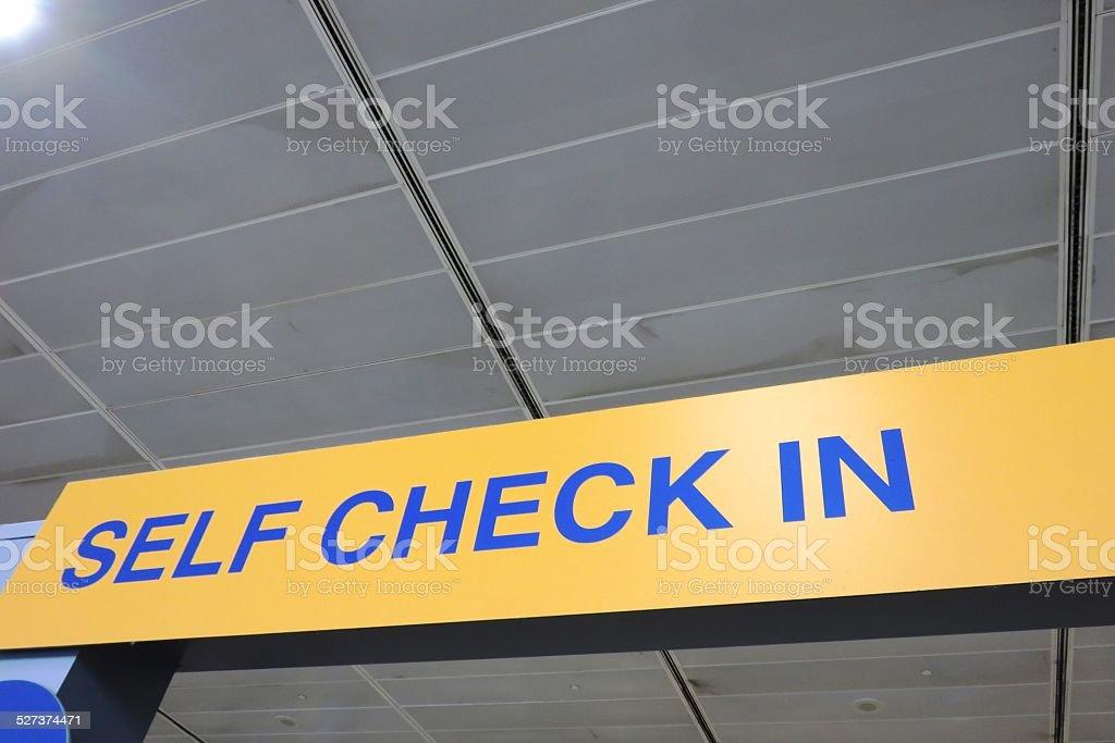 Self check in stock photo