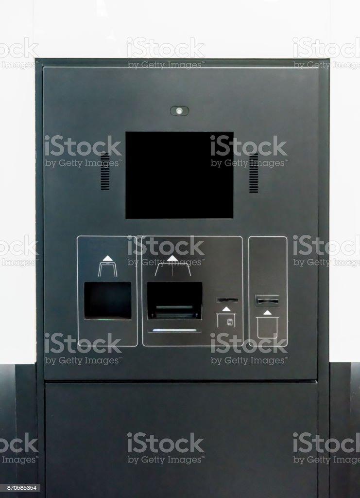 Self Checkin Machine In Black And Grey Color Scheme Stock