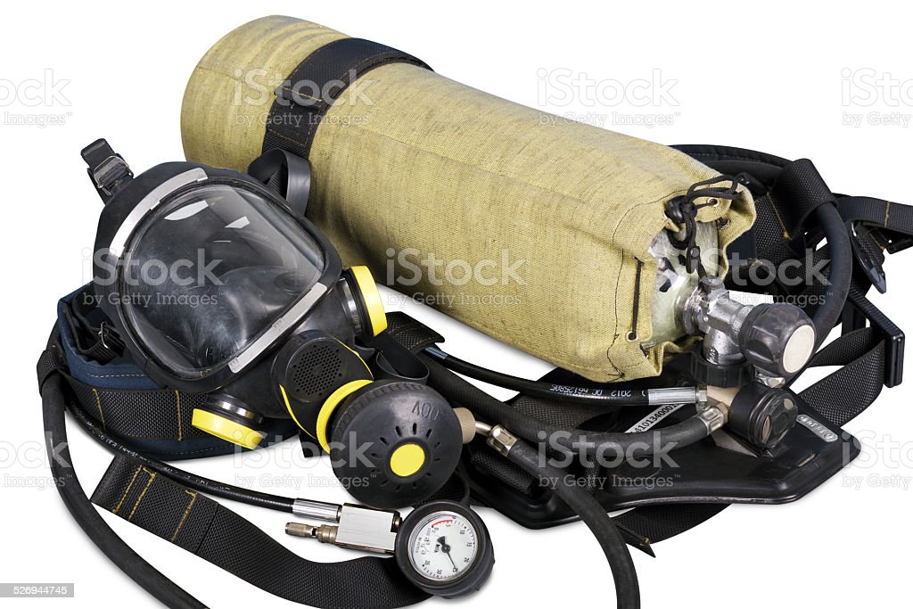 Self contained breathing apparatus stock photo