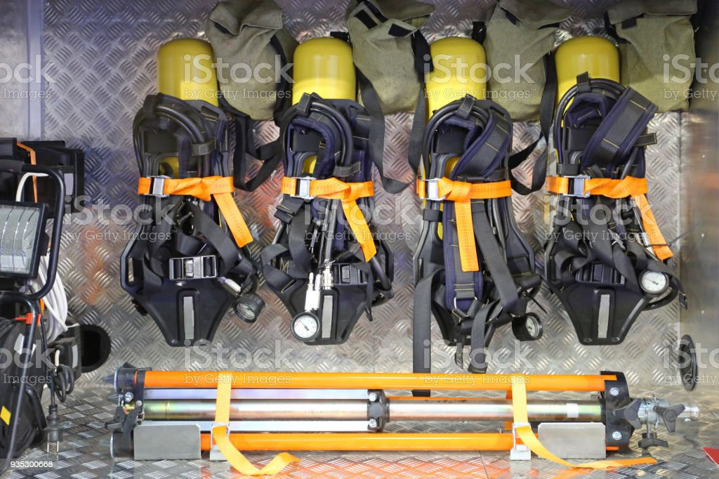 Self Contained Breathing Apparatus Self Contained Breathing Apparatus With Compressed Air in Firefighter Truck Accidents and Disasters Stock Photo