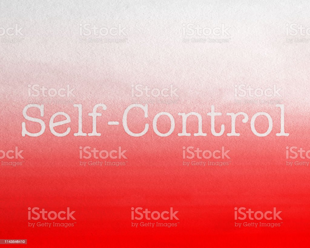 Self Control Red Background, watercolor painted Fruit of the Spirit stock photo