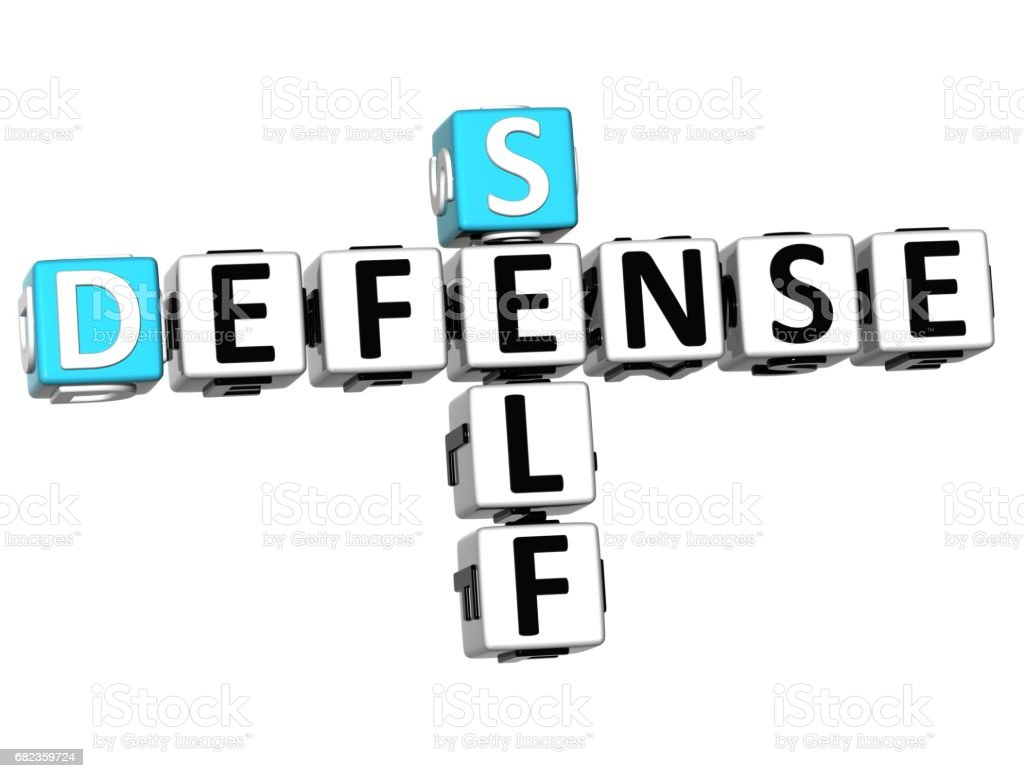 3D Self Defense Crossword cube words foto stock royalty-free