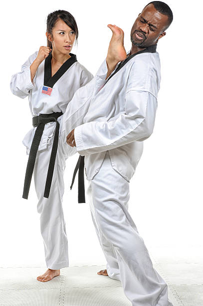 self defense kick - martial arts gerville stock pictures, royalty-free photos & images