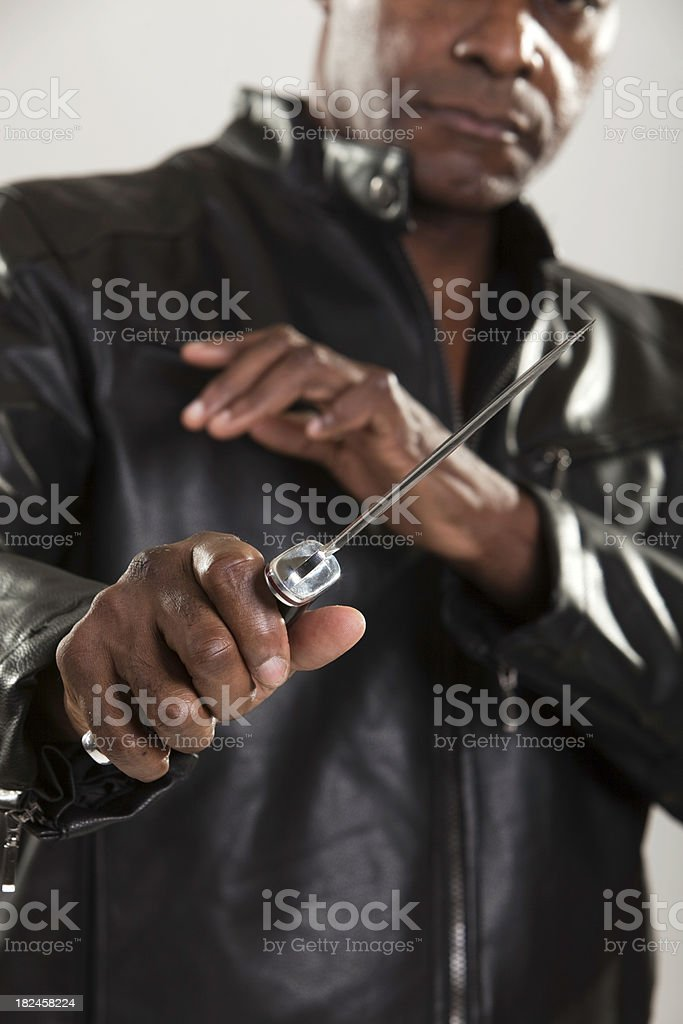 Self Defense Threat with Knife royalty-free stock photo