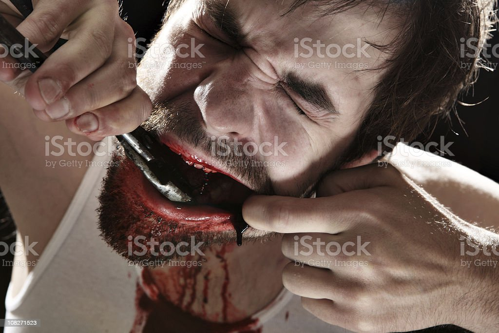 Self Dentistry royalty-free stock photo