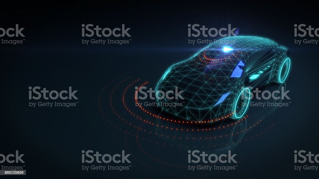 Self drive autonomous vehicle stock photo