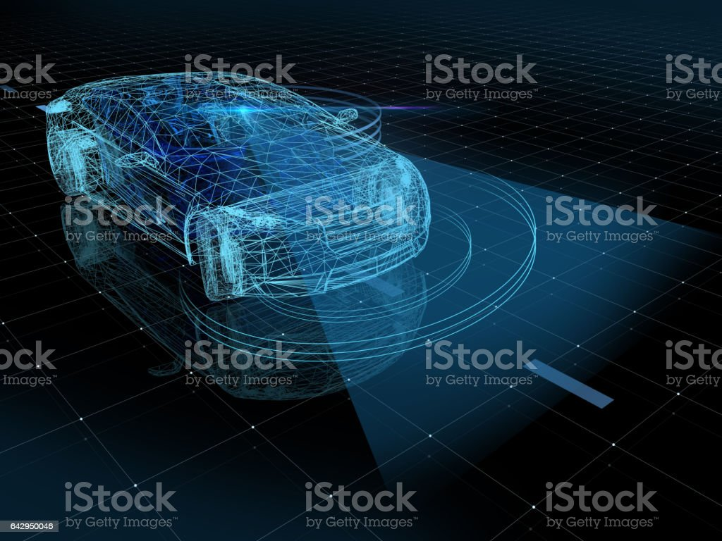 Self drive car, autopilot - foto stock