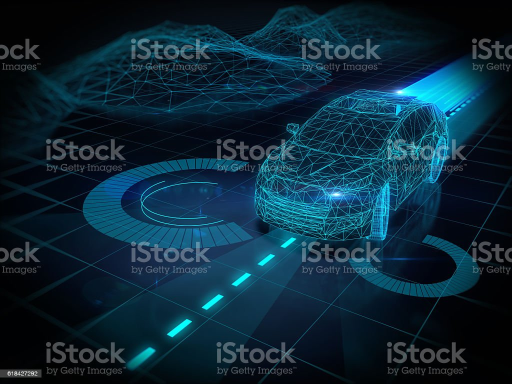 Self drive car stock photo