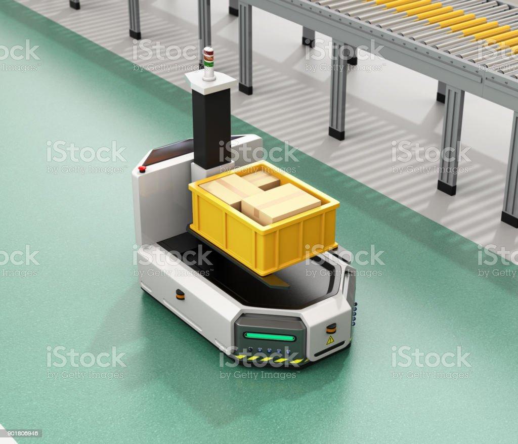 Selbstfahrer AGV mit Gabelstapler mit Container-Box neben Förderband – Foto