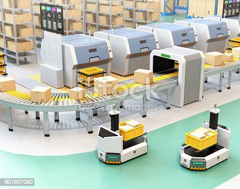 istock Self driving AGV with forklift carrying container box beside conveyor 901807090