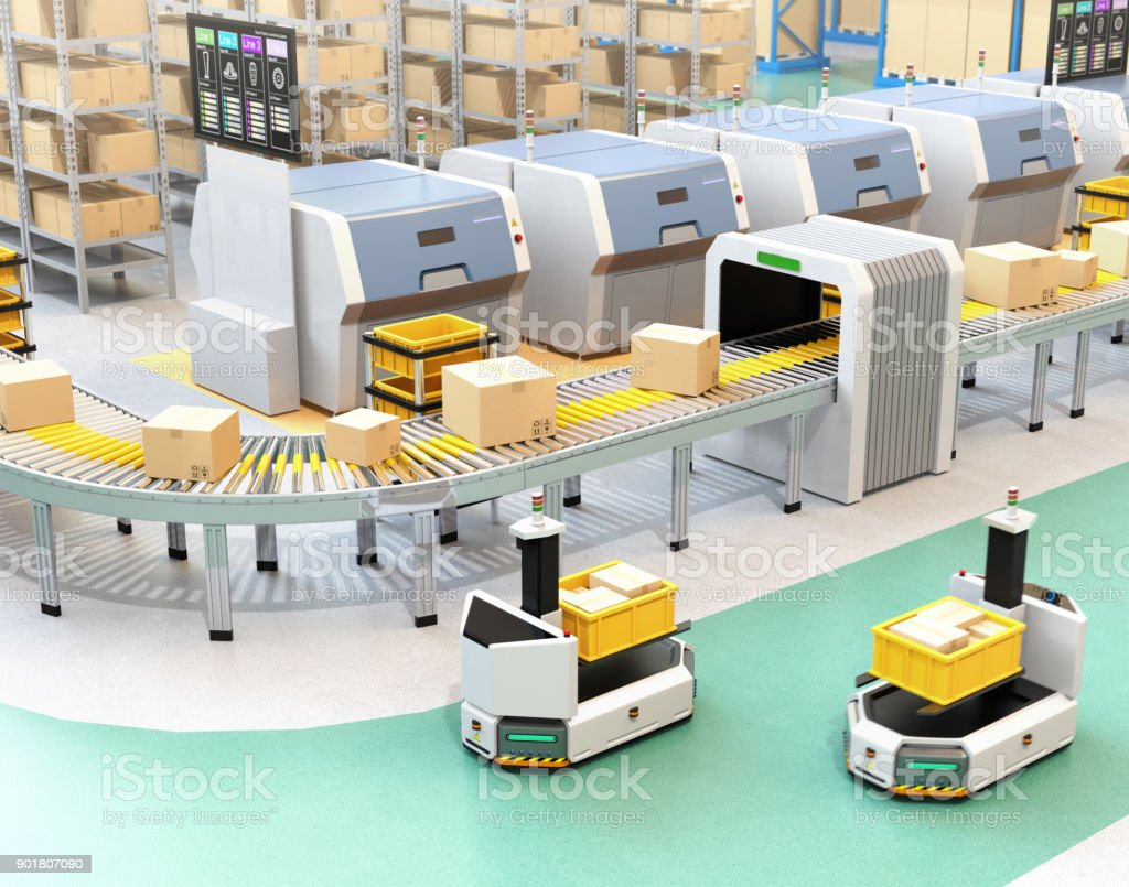 Self driving AGV with forklift carrying container box beside conveyor stock photo