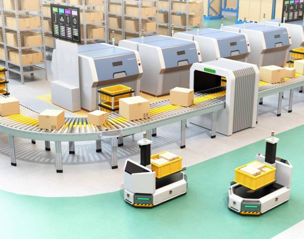 själv kör agv med gaffeltruck redovisade container låda bredvid transportband - delivery robot bildbanksfoton och bilder