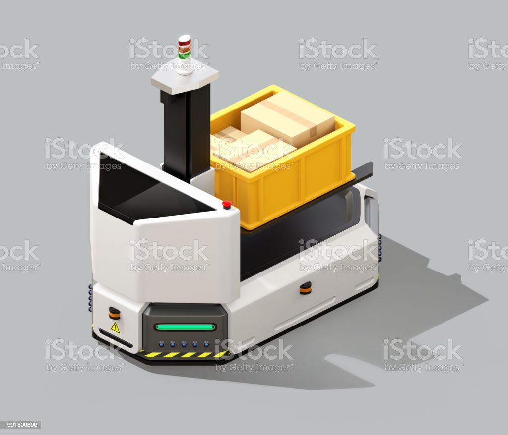 Self driving AGV with forklift isolated on gray background stock photo