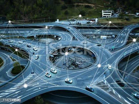 936364312istockphoto Self Driving Autonomous Cars on Traffic Circle 1147749590