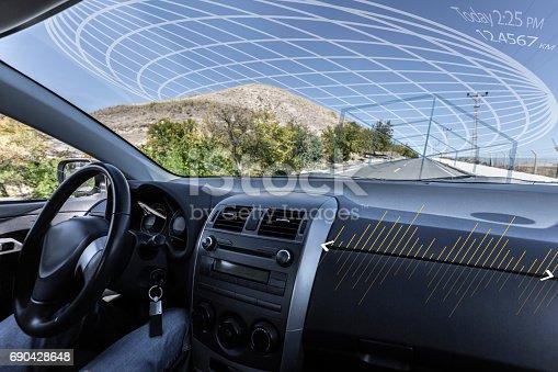istock Self driving autonomous intelligent car 690428648