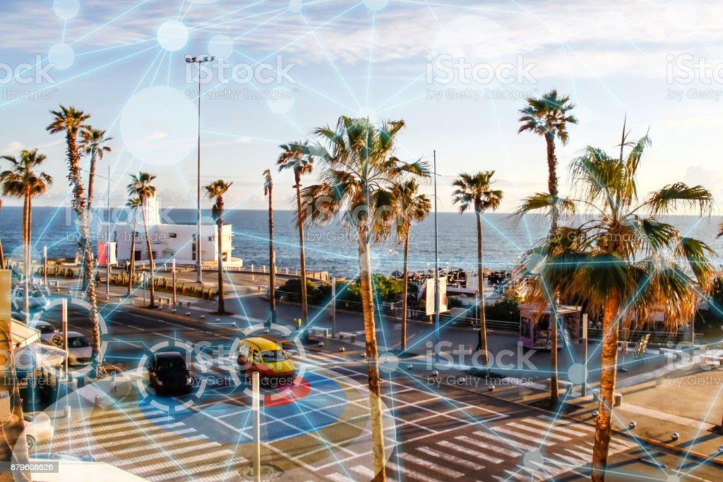 Self driving autonomous intelligent cars in smart city stock photo