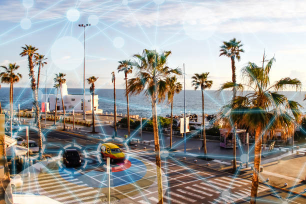 self driving autonomous intelligent cars in smart city - smart city stock photos and pictures