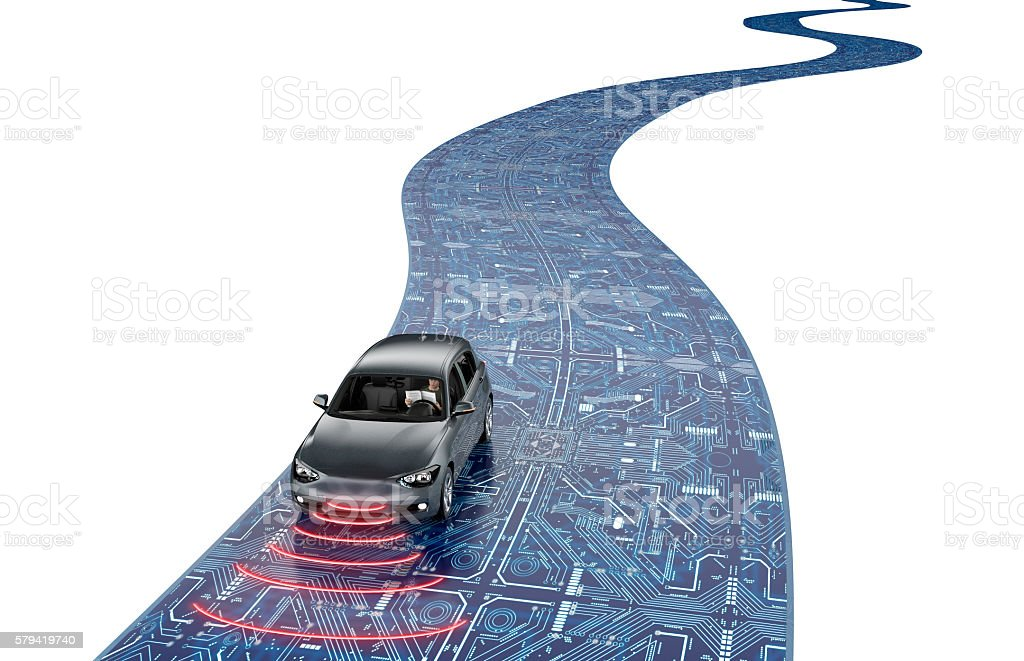 self driving electronic computer car on road - foto stock