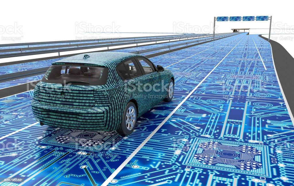 Estacionamiento sin servicio de valet en dirección electrónica para computadora en carretera - Foto de stock de Automatizado libre de derechos
