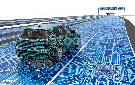 istock self driving electronic computer car on road 638796582