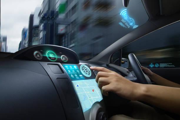 Self Driving of Autonomous car stock photo