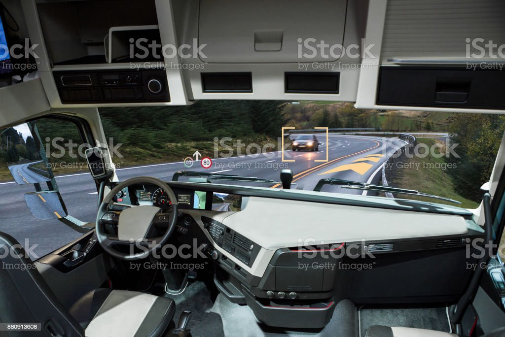 Self driving truck with head up display on a road. stock photo