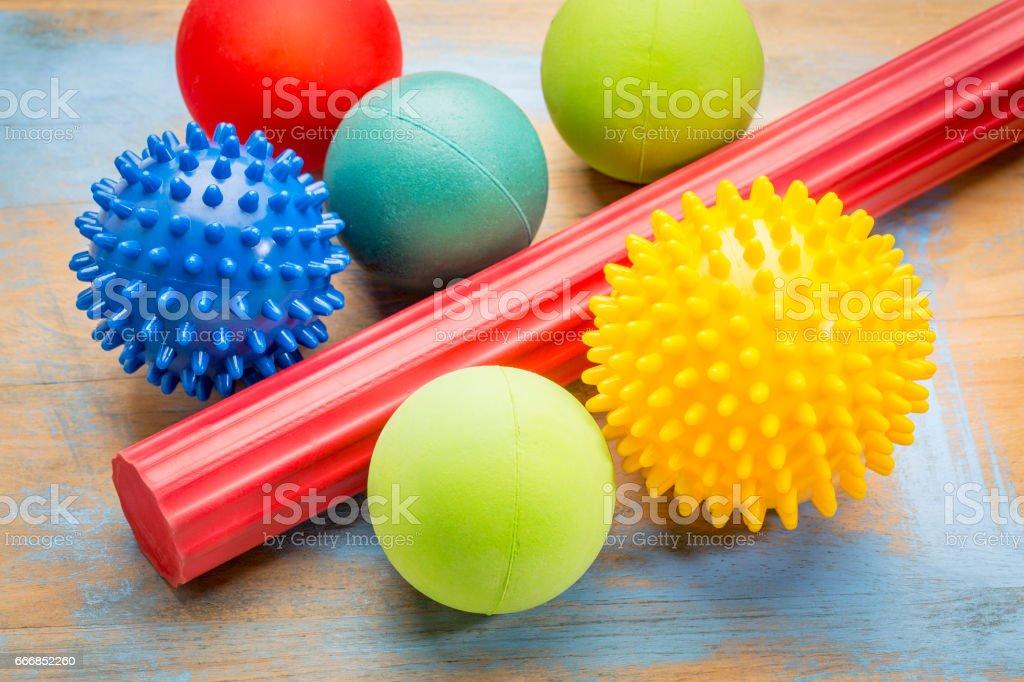 self massage and reflexology therapy balls stock photo