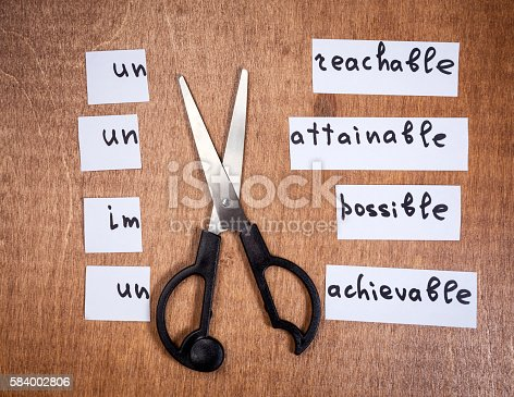 istock Self motivation concept. Negative words cut with scissors. 584002806