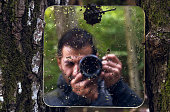 Self portrait by the mirror in nature