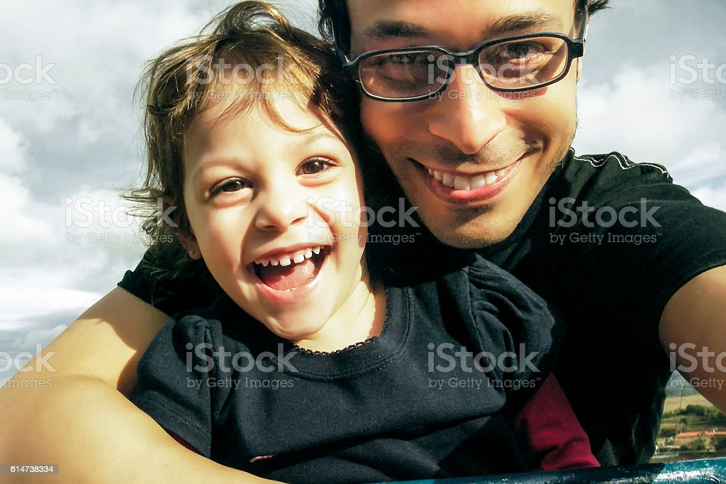 Self Portrait of Father and Daughter Having a Good Time stock photo