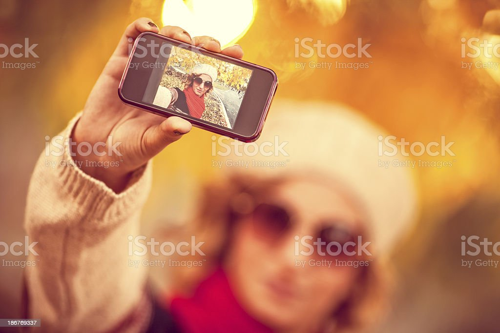 Self portrait on a smartphone royalty-free stock photo