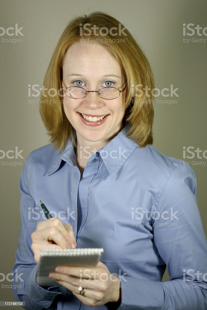Self Portrait Series: Taking notes. royalty-free stock photo