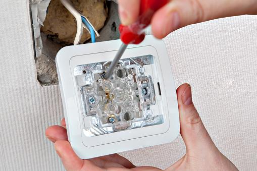 Self Repair Household Light Switch Using Screwdriver ...