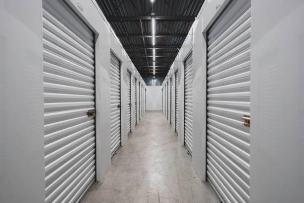 Self storage facility, metal doors with locks. stock photo