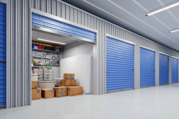 Self Storage Room With Boxes stock photo